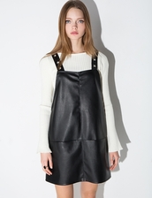 dress,black leather eyelet pinafore dress,leather dress,pinafore dress,black eyelet dress,black leather dress,chic style,chic,pixiemarket,cute dress