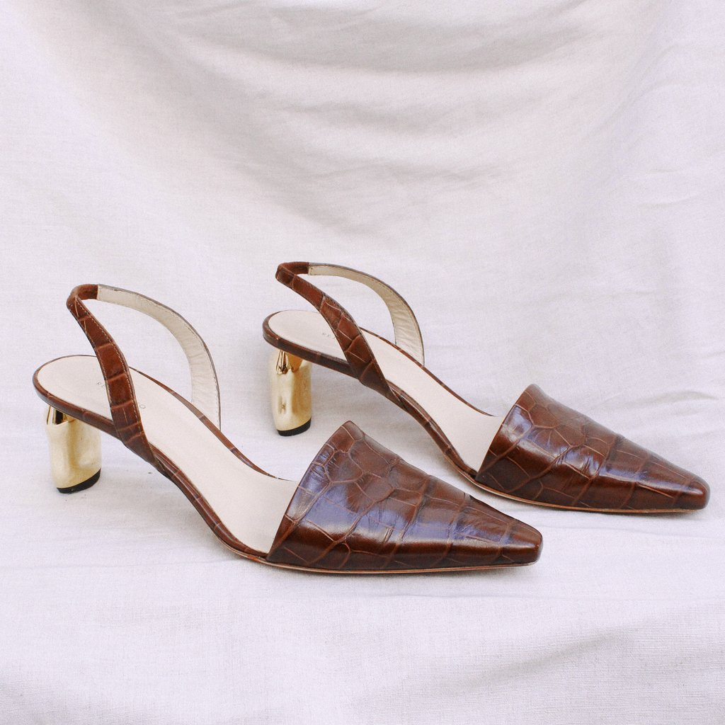 532effac24 Conie Brown Leather Croc Tamarind Heel Slingback