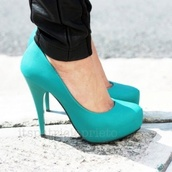 shoes,tiffany blue,blue,pretty,cute,light blue,high heels,cute high heels,tiffany blue heels