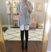 stylish petite,blogger,coat,dress,shoes,over the knee boots,over the knee,white jeans,top,grey top,turtleneck,three-quarter sleeves,fall outfits