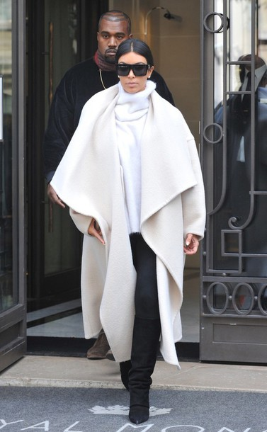 coat white kinkardashian winter outfits sunglasses kim kardashian sweater cardigan