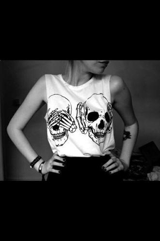 t-shirt white skull t-shirt