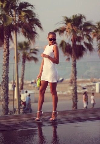 bag dress shoes sunglasses kenza white dress summer dress mini dress tube dress bodycon dress shift dress classy