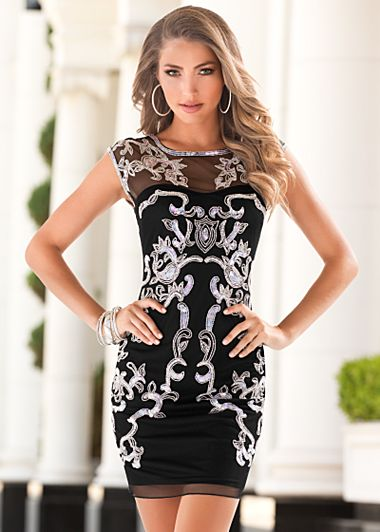 Black Multi Embellished mesh dress from VENUS