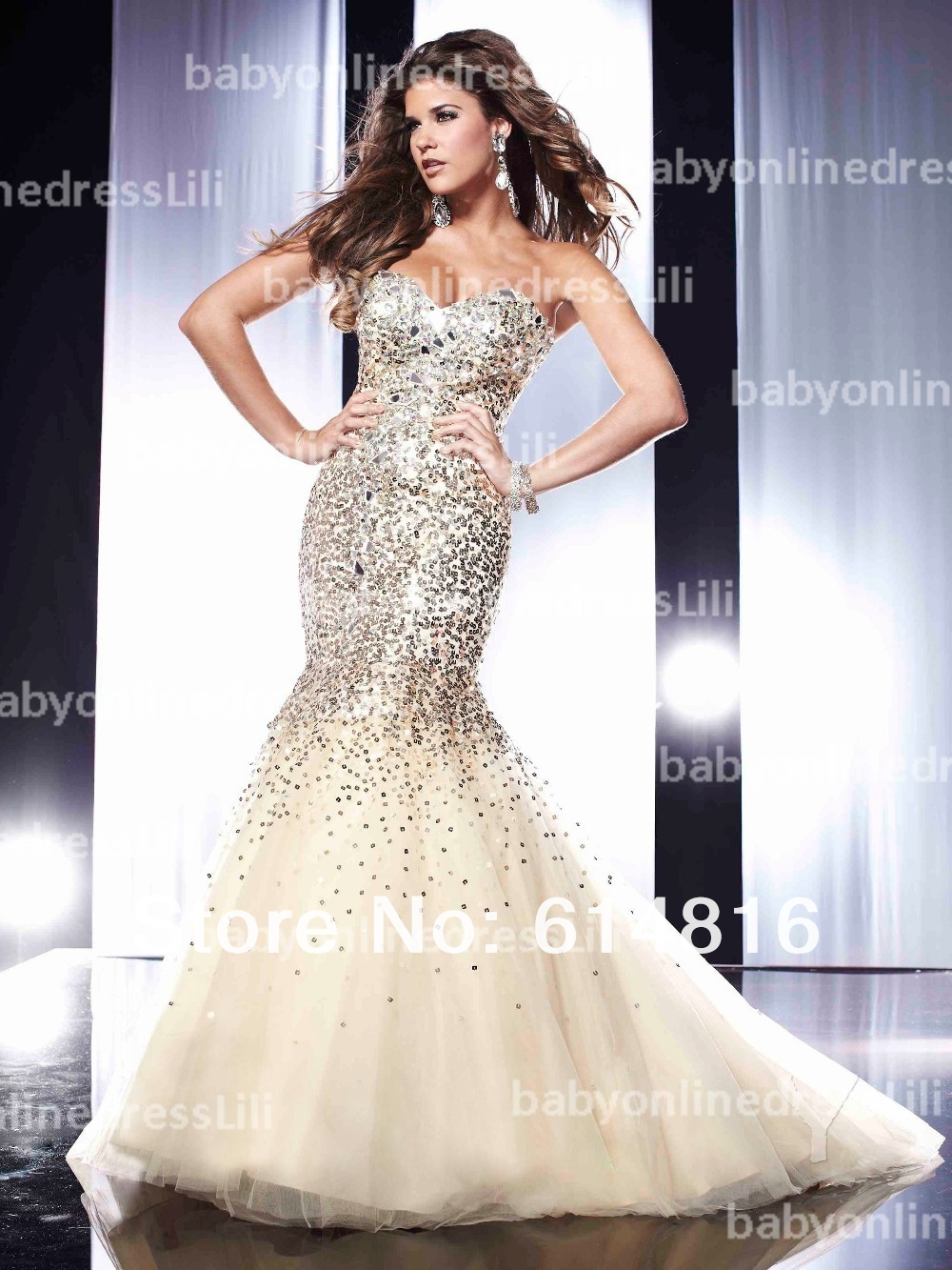 Free shipping mermaid sweetheart organza satin sequined prom dresses 2014 evening dresses with crystals v41