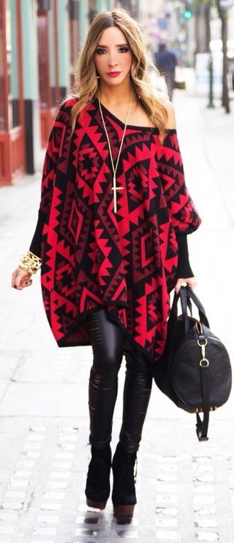 aztec sweater aztec sweater oversized sweater poncho
