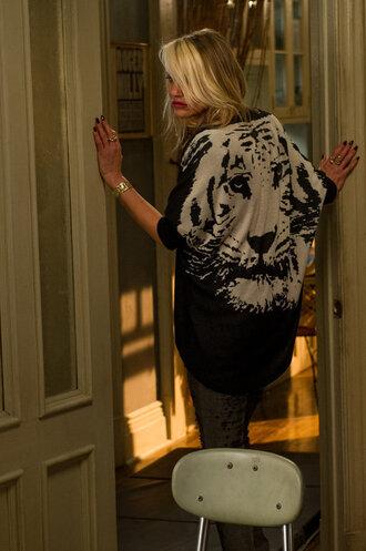 cardigan tiger annie 2014 fashion black fall winter animal print