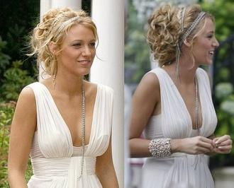dress hat serena van der woodsen white dress gossip girl