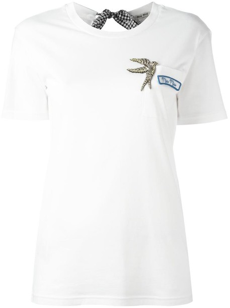 Miu Miu t-shirt shirt t-shirt metal women embellished white cotton top