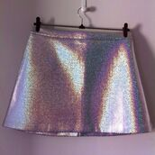skirt,lovelystyle,silver plastel,holographic mini skirt cute short,holographic,holo