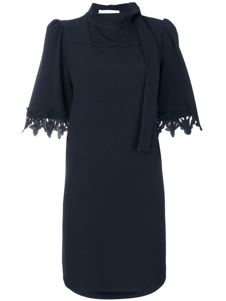 See by Chloe dress shift dress women spandex lace blue