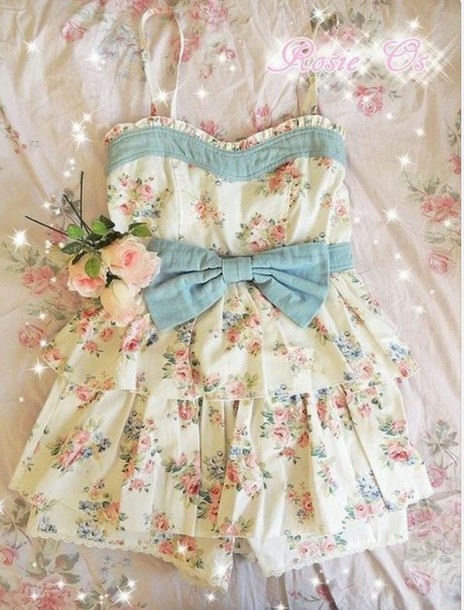 romper cute cute romper kawaii kawaii romper floral floral romper jeans girly fairy kei fashion style pink flowers blue