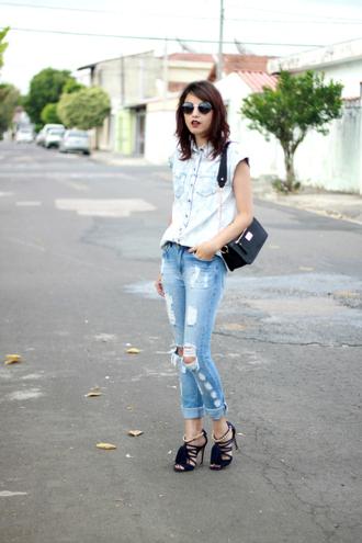 my name is glenn blogger sunglasses denim shirt acid wash ripped jeans