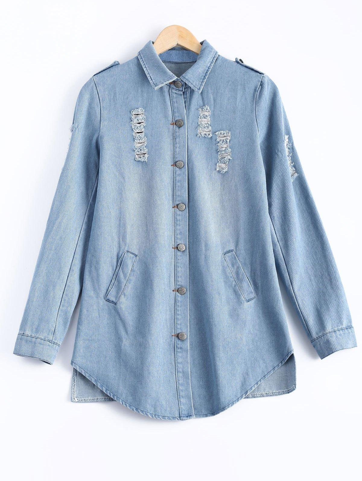 Button Design Wash Bleach Ripped Denim Shirt
