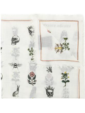 skull women forest scarf white print silk