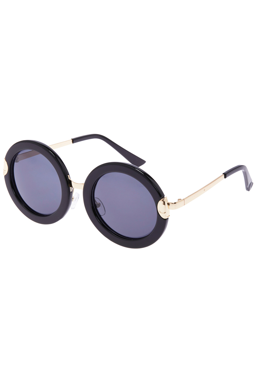 ROMWE | ROMWE Black Round Sunglasses, The Latest Street Fashion