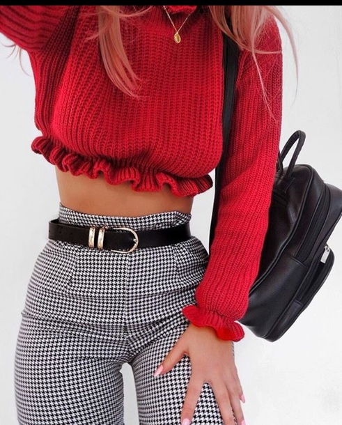 houndstooth leggings checkered black and white pants sweater shirt jeans top red belt pied de poule checkered pants dolls kill croped cropped jumper blouse cozy croped red