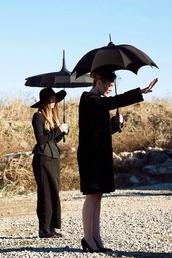 shirt,black,black skirt,skirt,black umbrella,american horror story,dope,cool,hat,jacket,umbrella,shoes,bag