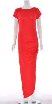 dress,women caps sleeve ruched maxi dress red