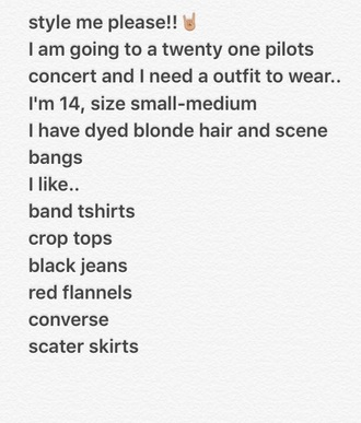 shirt twenty one pilots band t-shirt style me hipster concert outfit blonde hair crop tops crop black ripped jeans black jeans flannel converse skater skirt etsy
