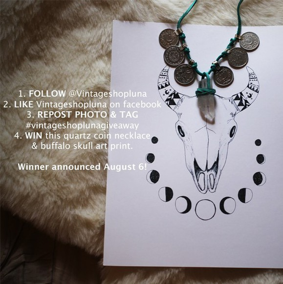 vintage jewels win giveaway buffalo skull art boho boho jewelry coin necklace quartz necklace vintage shop luna giveaway vintage shop luna enter to win win this turquoise buffalo skull tee rose