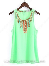 top,mint green top,sleeveless top,green blouse,tribal print top,tribal pattern