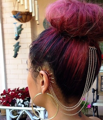 jewels spike cuff ear chain ear cuff redhead summer time