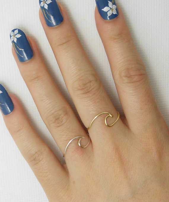 Single Wave Ring--Ocean waves ring--Wire Wrap Ring--Personalized Ring--Cool,Funny, Geeky Gift for Best Friend