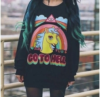 sweater black pullover unicorn pony mylittlepony black sweater rainbow