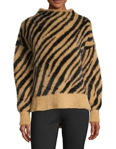 En Thread Women's Tiger-Print Faux Fur Sweater - Classic Khaki - Size XS