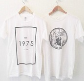 shirt,tumblr,the 1975,music festival,band t-shirt,t-shirt,grunge,faishon,soft grunge,music,punk rock,clothes,the 1975 shirt,the 1975 tshirt,5 seconds of summer,the 1975 top,punk,indie,band,black and white,white