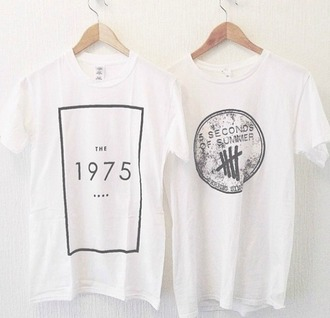 shirt tumblr the 1975 music festival band t-shirt t-shirt grunge faishon soft grunge music punk rock clothes the 1975 shirt the 1975 tshirt 5 seconds of summer the 1975 top punk indie band black and white white