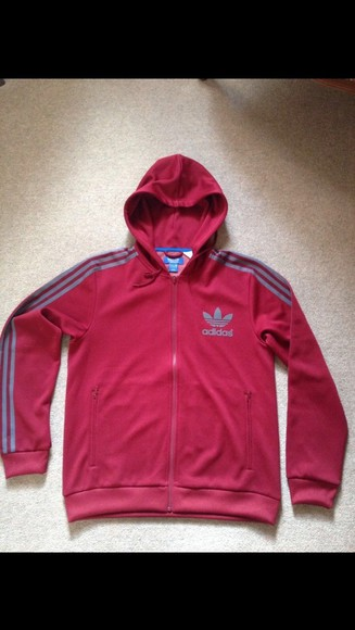 zip-up zip hoodie jacket red grey hoodie red jacket burgundy burgundy jacket adidas adidas originals adidas sweats vintage adidas adidas jacket adidas hoodie