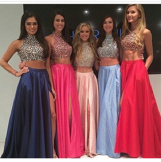 sherri hill blue dress pink dress baby pink light blue sequins dress slit dress