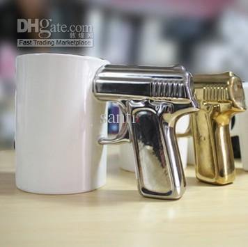 Hot gun handle ceramic coffee cup cool pistol grip cups