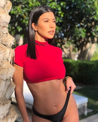 top crop tops kourtney kardashian kardashians instagram red red top bikini bottoms summer outfits summer top
