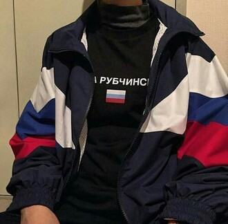 sweater russian coat pull windbreaker t-shirt russian flag blue white red shirt russia grunge alternative