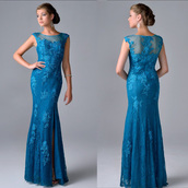 dress,mother of the bride dress,lace mother of the bride dress,royal blue dress,see through dress,mermaid dresses