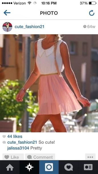 blouse shirt preppy skirt white pink