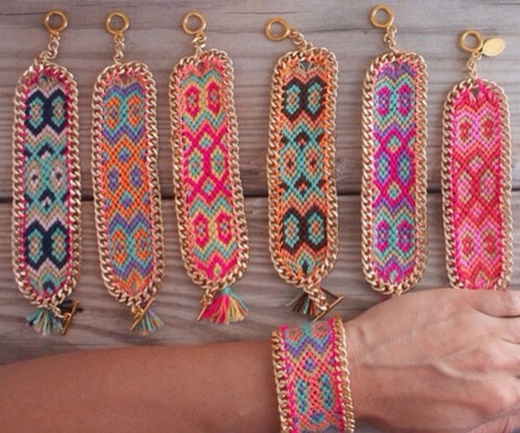 jewels bracelets friendship bracelet neon beads bracelet ethno gold