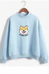 sweater,shiba inu,tumblr,crewneck sweater