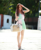 chloe ting,top,skirt,shoes,bag