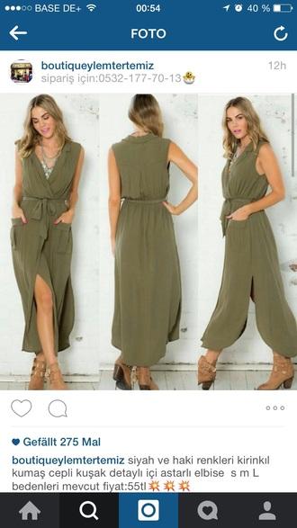 dress dress kleid khaki maxi dress khaki
