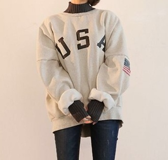 sweater grey oversized usa printed sweater korean fashion