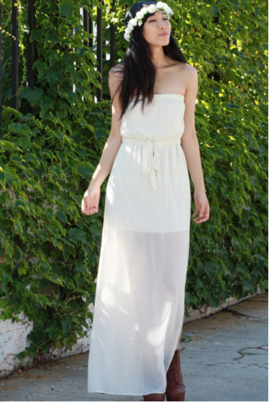 tube dress white dress dress sleeveless dress maxi dress white maxi dress off shoulder dress tube maxi dress chiffon dress off the shoulder dress