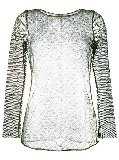 Dorothee Schumacher - mesh top - women - Polyamide/Viscose - 3, Green, Polyamide/Viscose