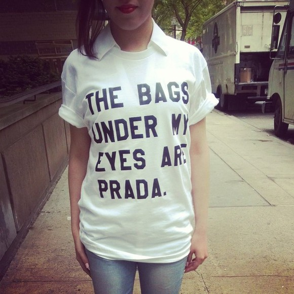 top t-shirt prada under eye bags blouse bag prada bag prada top streetstyle 708562 streetwear blogger tumblr tumblr girl tumblr outfit