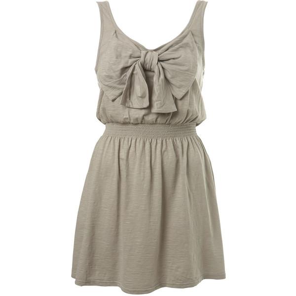 Grey Plain Bow Dress - Miss Selfridge - Polyvore