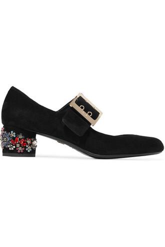 embellished pumps suede black shoes