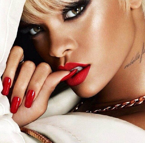 Make Up Red Lipstick Rihanna Fashion Lipstick Nail